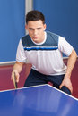 Ready to play confident young man getting table tennis Stock Image