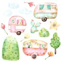 Ready to use children illustration style set of watercolor graphics including three retro caravans, three clouds, aqua cactus, yel