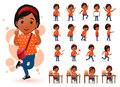 Ready to Use Little Black African Girl Student Character with Different Facial Expressions