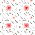 Watercolor seamless pattern with poppies