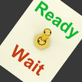 Ready wait lever shows preparedness and delay showing Stock Image
