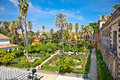 Real alcazar gardens in seville spain reales alcazares andalusia Stock Photography