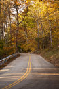 Real country road through woods in the late afternoon of a fall day Royalty Free Stock Photo