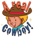 Real cowboy with text illustration Stock Photography
