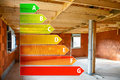 Real ecological house in construction with energy efficiency rating Royalty Free Stock Photo