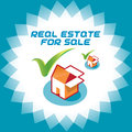 Real estate accept icons illustration sign symbol logo with box and house for web and print design online store Stock Image