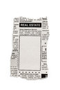 Real estate ad fake classified newspaper concept Stock Image
