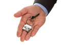 Real estate agent holding house keys Stock Images