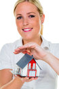 Real estate agent with house and key a broker for a a successful leasing property for sale by agents Stock Photo