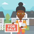 Real estate agent offering house. Royalty Free Stock Photo