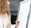 Real estate agent writing on flip chart woman closing costs paper in office Stock Images