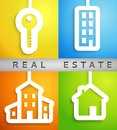Real estate applique background vector illustration for your housing presentation set of white homes and key cutouts on different Royalty Free Stock Image