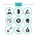 Real estate, auction icons. Home key sign. Royalty Free Stock Photo
