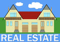 Real estate banner with stylized family house illustration