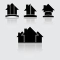 Real estate black four construction company symbols on white eps Stock Photos