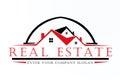 Real estate black and red color logo vector design