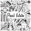 stock image of  Real estate business industry and investment handwriting doodle