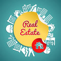 Real estate circle concept text house and lens icons rental illustration vector file layered for easy manipulation and custom Royalty Free Stock Photo