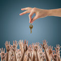 REAL ESTATE concept. Many hands want to get the Royalty Free Stock Photo