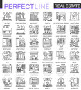 Real Estate concept symbols. Perfect thin line icons. Modern stroke linear style illustrations set.