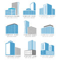 Real estate, construction business logo set with vector buildings icon