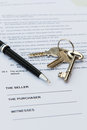 Real estate contract pen keys Stock Photos
