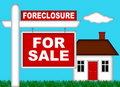 Real Estate Home Foreclosure with For Sale Sign Stock Photography