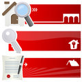 Real estate horizontal banners a collection of three with a house icon a magnifying glass a key and a contract with pen on red Royalty Free Stock Photography