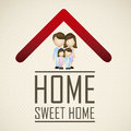 Real estate and house icons illustration of icon application icon with family vector illustration Stock Images