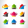 Real estate house logo icons collection of Stock Photography