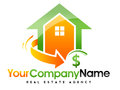 Real estate house logo an illustration representing an abstract with a swash arrow and a dollar sign Royalty Free Stock Photography