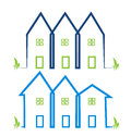 Real estate houses in blue and green colors logos illustration Stock Photo