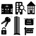 Real estate and housing icons Stock Images