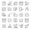 Real estate icons linear monotone vector flat line with on a white background Stock Photography