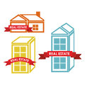 Real estate icons over red background vector illustration Stock Images