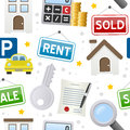 Real estate icons seamless pattern a with colorful on white background eps file available Royalty Free Stock Image