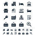 Real estate icons simple clear and sharp easy to resize no transparency effect eps file Stock Photography