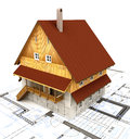Real estate isolated building house with layout plan Royalty Free Stock Images