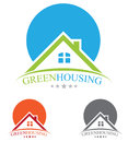 Real estate logo concept house sun and house Stock Images