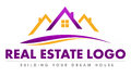 Real estate logo illustration drawing representing a made out of a house roof and swashes Royalty Free Stock Photos