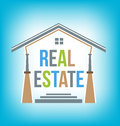 Real estate logo name with house entrance Royalty Free Stock Photo