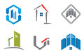Real estate logo set of six construction logos Royalty Free Stock Photography