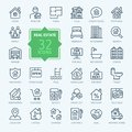 Real Estate - minimal thin line web icon set. Outline icons collection. Royalty Free Stock Photo