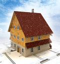 Real estate new building house with layout plan at snowfall Stock Photo