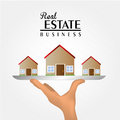 Real estate over gray background vector illustration Royalty Free Stock Photos