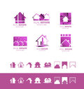Real estate pink set logo icon purple Royalty Free Stock Photo
