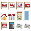 Real estate and property business icons Stock Image
