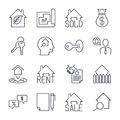 Real estate realtor deals icon set. For sale and rent signs. Eco house, keychain, contract and more. Thin black line art. Linear s