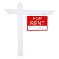 Real estate for rent sign isolated render on white background Royalty Free Stock Images