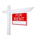 Real estate for rent sign isolated render on white background Stock Photography